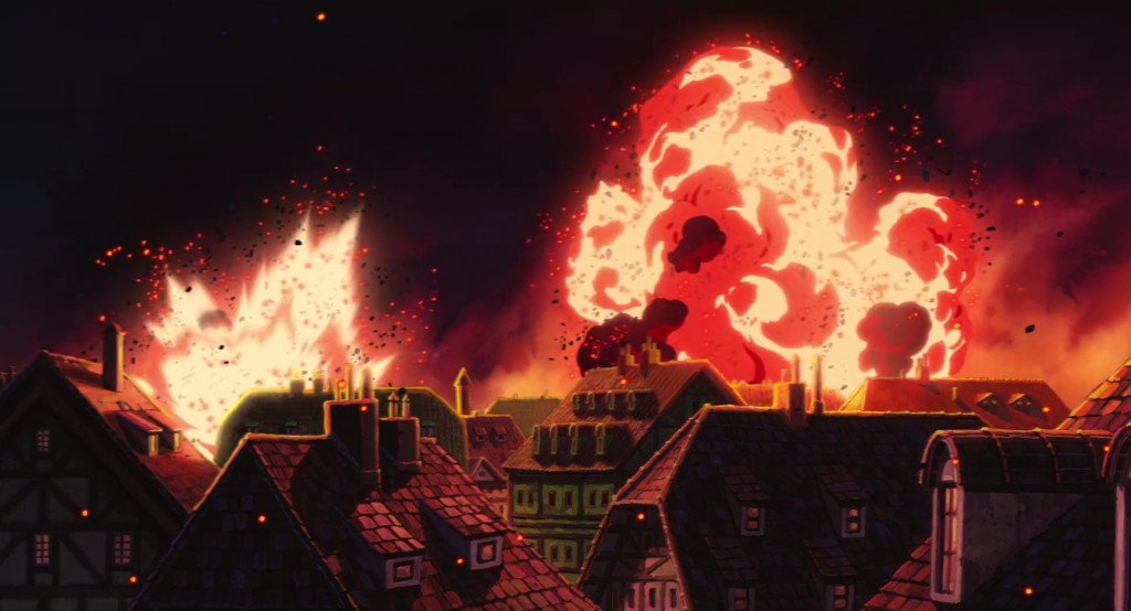 Porthaven gets bombed during the battle scene in Studio Ghibli's animated version of Howls Moving Castle